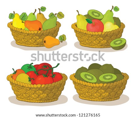 Set wattled baskets with fruits and vegetables: pears, apples, tomatoes and kiwifruits