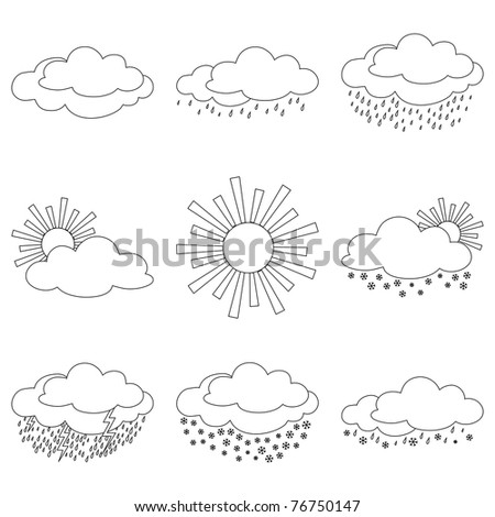 Set weather icons, illustrating the various natural phenomena, contours