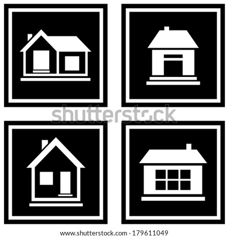 set white house silhouette on black icons - stock photo