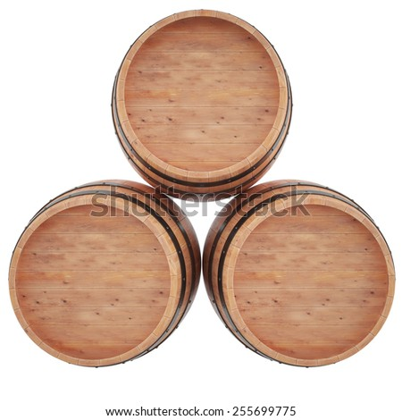 Set Wine, beer, whiskey, rum, barrel top view of isolation on a white background. 3d high resolution image. - stock photo