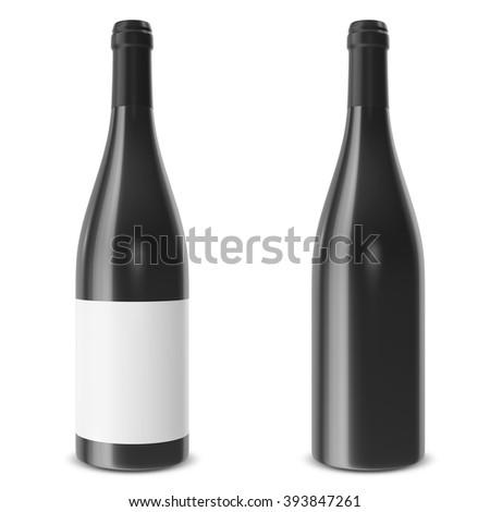 Set wine bottle isolated on white background. 3d illustration - stock photo