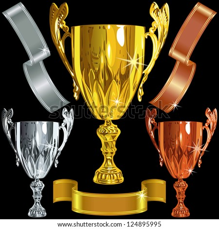 set Winning success gold, silver, bronze cups and gold ribbons on the black background - stock photo