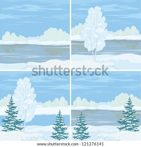 Set winter landscapes: trees, river and blue sky.