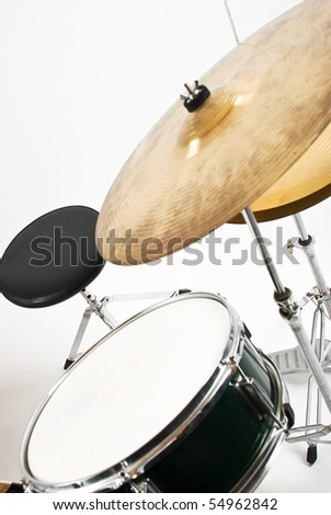 Set with cymbal drum and chair indoor shot - stock photo