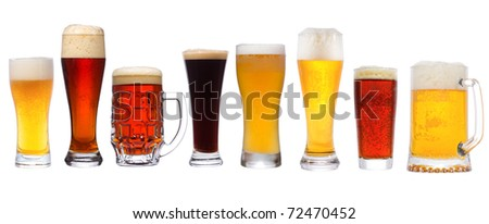 set with different beer on white background - stock photo