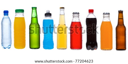 set with different bottles on white background - stock photo