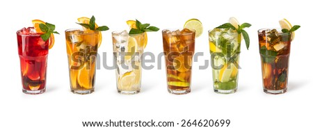 set with different cocktails on white background - stock photo