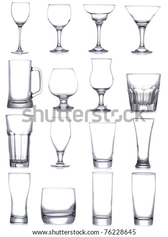 set with different empty glasses and mugs on white background - stock photo