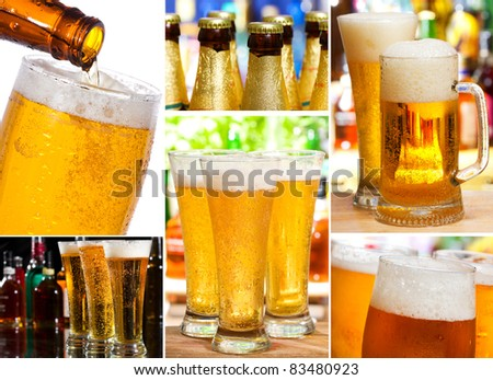 set with different glasses of beer - stock photo
