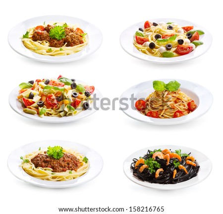 set with different plates of pasta and spaghetti on white background - stock photo