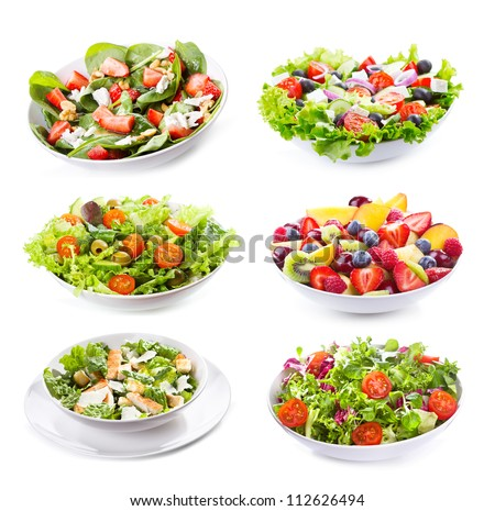 set with different salads on white background