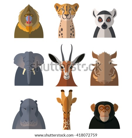 Set with flat icons of african animals - stock photo