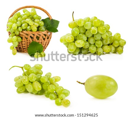 set with green grapes isolated on white - stock photo