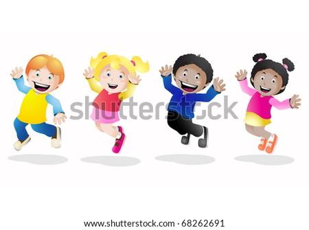 Set with groups of kids having fun - stock photo