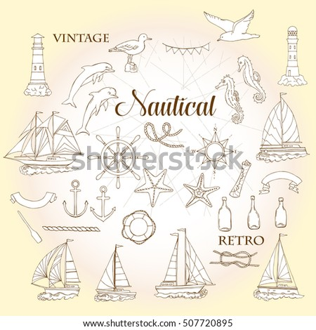 Set with nautical  elements ships and wheel, seahorse, sailing boats,  dolphin and sea knots. Hand drawn articles for summer holidays.Travel, marin and ocean.  Illustration