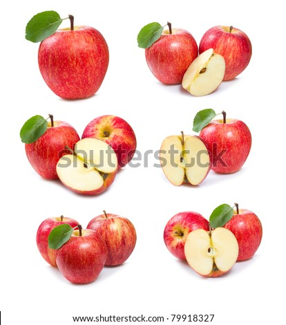 set with red apples on white background