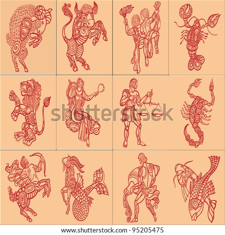 set with signs of zodiac on yellow background - stock photo