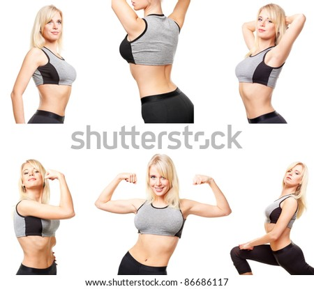 Set with six shots of young woman in sports wear doing exercises, extends up. Isolated on white. - stock photo