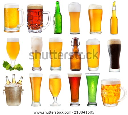 set with various glasses and bottles of beer isolated on white background  - stock photo