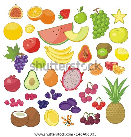 Set with various seasonal and exotic fruits