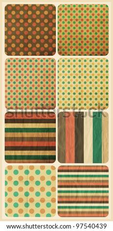 set with vintage pattern, retro texture - stock photo