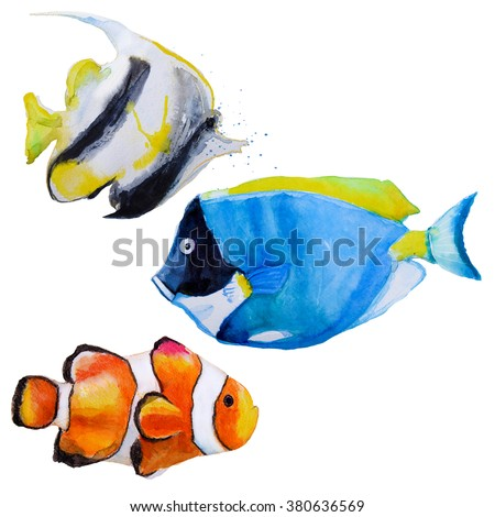 set with watercolor tropical fish - stock photo
