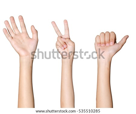 set woman hands on white backgrounds