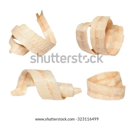 set wood shavings isolated on white background, with clipping path - stock photo