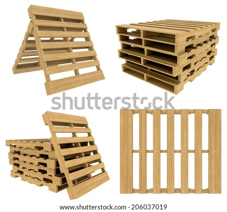 set wooden pallet. Isolated on white background. realistic wood - stock photo