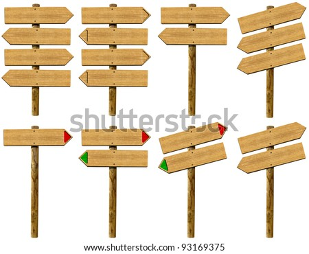 Set wooden signs / Set of wood board signs isolated on white background - stock photo