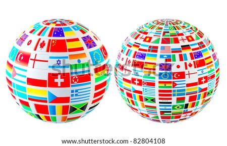 Set- world flags spheres. Isolated over white - stock photo