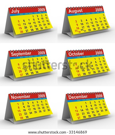 Set 2009 year calendar. Isolated 3D image - stock photo