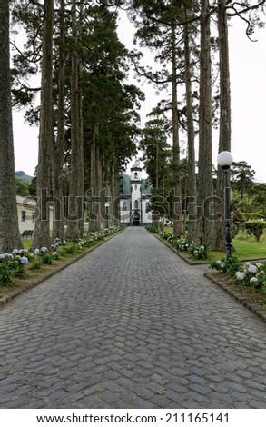 Sete Cidades Church, Island of Sao Miguel, Azores, Portugal - stock photo