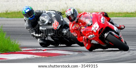 Sete Gibernau leading the corner Moto GP 2006 - stock photo