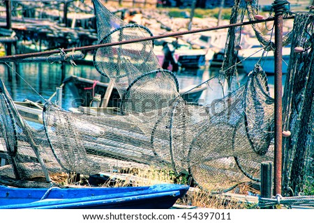 Sete, Herault, France : Fishing nets in  La Pointe Courte: A Fishermen's district (village) of Sete - stock photo