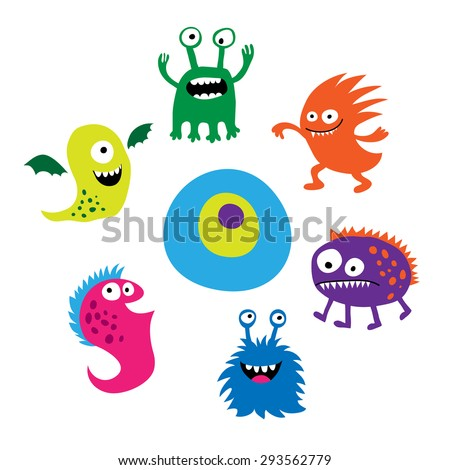 Seth a bright funny cute monsters - stock photo