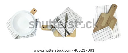 Seth white plate,kitchen wooden board,towel, cutlery isolated on white background - stock photo