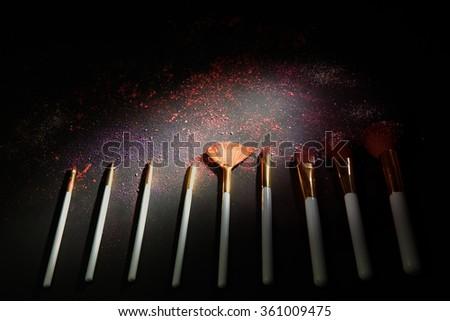 sets makeup brush for professional makeup artist - stock photo