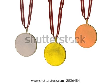 Sets of medals (Gold, Silver and Bronze). All are isolated on white, the center of each is blank for you to fill in. - stock photo