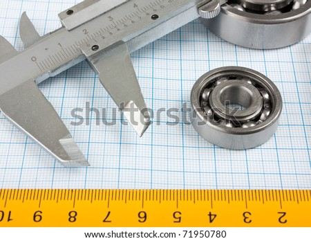 setsquare and calliper with bearing on graph paper
