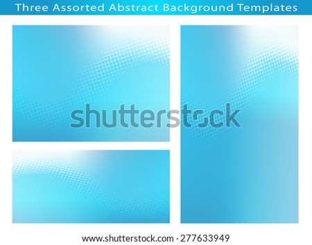 Sett of 3 Abstract cool soft blue dot swirl medical or business background templates with plenty of copy space.  - stock photo