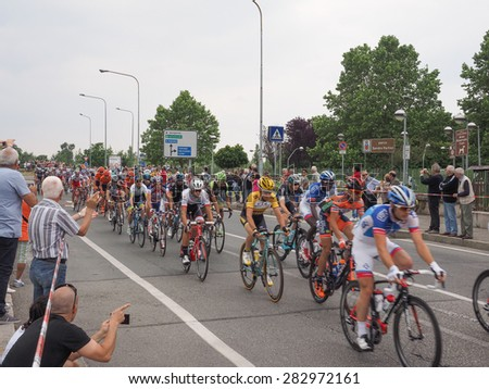 SETTIMO TORINESE, ITALY - MAY 31, 2015: Riders at the last stage of Giro di Italia meaning Tour of Italy stage bycicle race