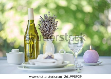 Setting, decoration, dinner. - stock photo