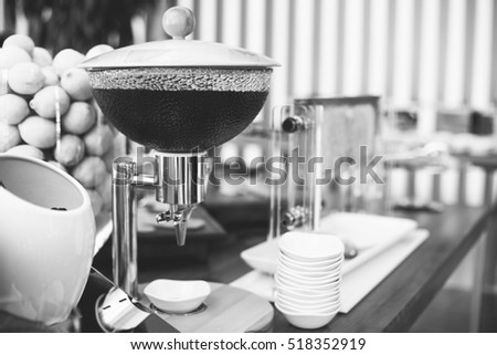 Setting of objects in the cafe, details, breakfast, juice, shallow focus, abstract, black and white, drinks