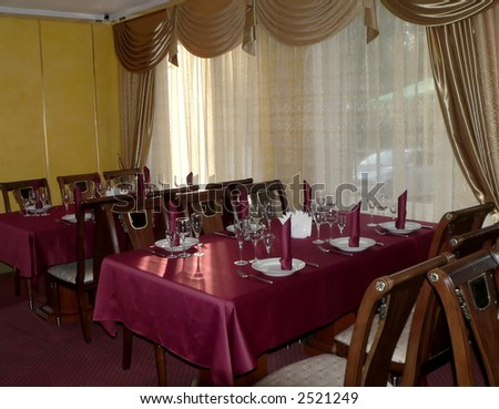 Setting of the table in restaurant - stock photo