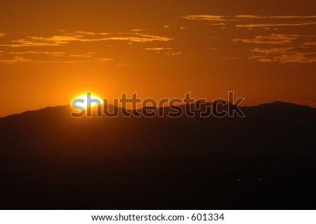 setting sun - stock photo