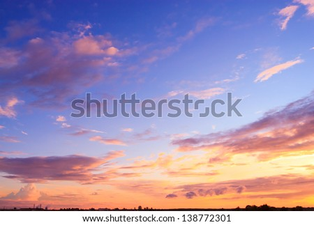 Setting Sun Bright Horizon - stock photo