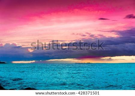 Setting Sun Evening Scene  - stock photo