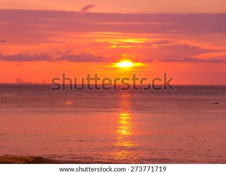Setting Sun Fiery Backdrop  - stock photo