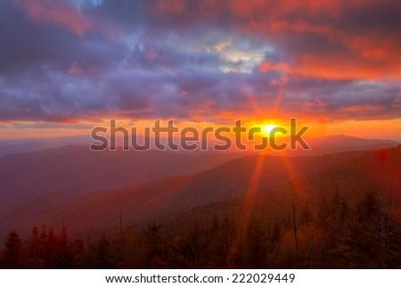 Setting sun makes the Smokies glow. - stock photo